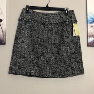 Michael Kors Frayed Trim Tweed Skirt Front Pockets